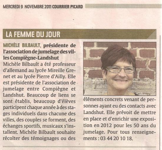 La femme du jour Courrier Picard 9 novembre 2011