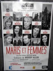 Théâtre de Paris pour la pièce « Maris et femmes », scénario de Woody Allen